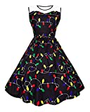 UNIFACO Women's Plus Size Christmas Party Dresses Sleeveless High Waist Round Neck Bulb Print Flared Cocktail Party Dress with Lace