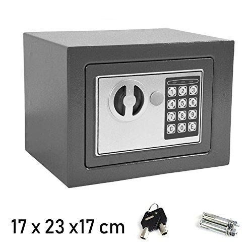 Tresore Safe mit digitaler Tastatur Elektrisch & 2 Notschlüssel Stahl Klein Grau für Home Office Sicherheit Lagerung Geld Dokument Bargeld Schmuck, 17x23x17cm