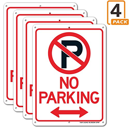 No Parking Sign with Symbol Sign, 4 Pack, 10' x 7' Rust Free .040 Aluminum, UV Protected, Waterproof, Weatherproof and Fade Resistant, 6 Pre-drilled Holes