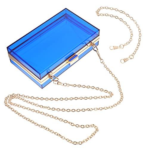 Lurrose Bolso de Noche de Acrílico Transparente Azul Claro Bolso de Noche Bolso de Noche de Acrílico Bandolera con Cadena Vintage Bolso de Banquete para Fiesta