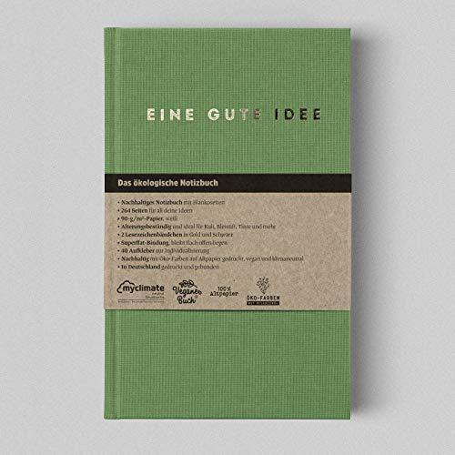 Eine gute Idee | A5 Hardcover Notizbuch mit Blanko Seiten | Klimaneutral und vegan produziert… (Salbei)
