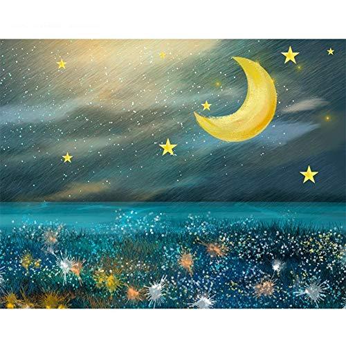 Escena nocturna DIY Pintura al óleo Kit de pintura por número Pintura para adultos Niños Artesanía para la decoración de la pared del hogar A7 50x65cm