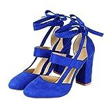 Liquidación! Covermason Moda Mujer Sandalia de tacón de aguja Sandalia de tacón de tobillo para la fiesta de la boda(41 EU, Azul)