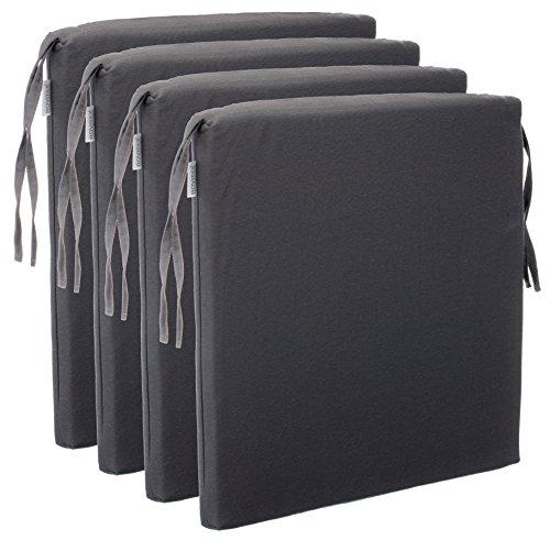 Brandsseller 4er Vorteilspaket Sitzkissen Stuhlkissen Sitzauflage Stuhlauflage - Uni Farben mit 4 Kordelbändern für sicheren Halt - 40x40 cm - Anthrazit