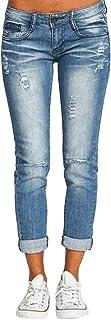 ORANDESIGNE Straight Jean Droit Femme Jeans Boyfriend Taille Haute Mom Jean Pantalons en Denim