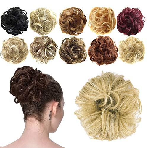 Feshfen Haargummi-Haarteil, für Haarknoten/Pferdeschwanz, Haarverlängerung, gewellt, unordentlicher Haarknoten, Dutt, Hochfrisur, Haarteil, A17 - Pale Golden Blonde & Bleach Blonde