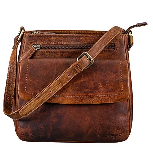 STILORD \'Jodie\' Leder Umhängetasche Damen Vintage Handtasche Elegante Ledertasche Crossbody Bag Frauen Schultertasche Tasche Klein Echtleder, Farbe:Prestige - braun