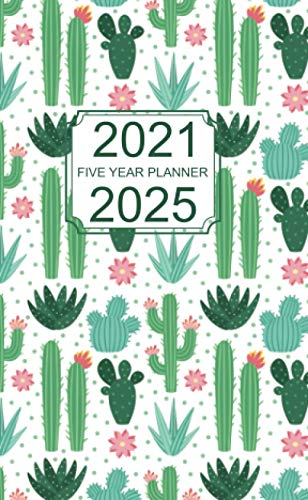 2021-2025 Five Year Planner: Pocket Monthly calendar for 5 years schedule and small organizer, Personal time management purse notebook with Cactus Cover
