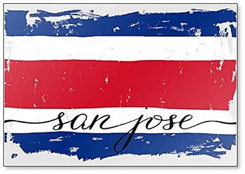 Kühlschrankmagnet, Motiv: Costa Rica-Flagge, handgeschriebener Text San Jose Grunge