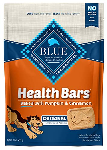 Blue Buffalo Health Bars Natural Crunchy Dog Treats Biscuits, Pumpkin & Cinnamon 16-oz bag