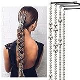 ZANLION 4PCS/1Set Women's Braid Hair Chain with Pearl Tassel,Pearl Chain Hair Clips Extension Chains Multi Strand Ponytail Tassel Hair Piece for Women and Girls