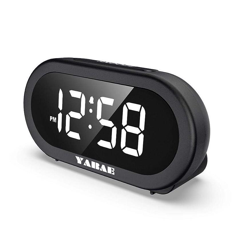 競争力のあるシビック理論YABAE 目覚まし時計 置き時計 大音量 LED デジタル アラーム クロック スヌーズ機能 明るさ調整 おしゃれ コンセント式 ブラック AL-01-L