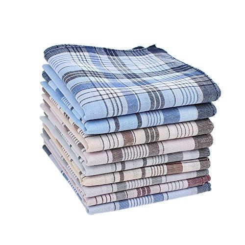 HOULIFE 6/9 Stücke Herren Stoff Taschentücher 100% Baumwolle Weich Handkerchief mit Karo-Muster, 38x38cm/15x15