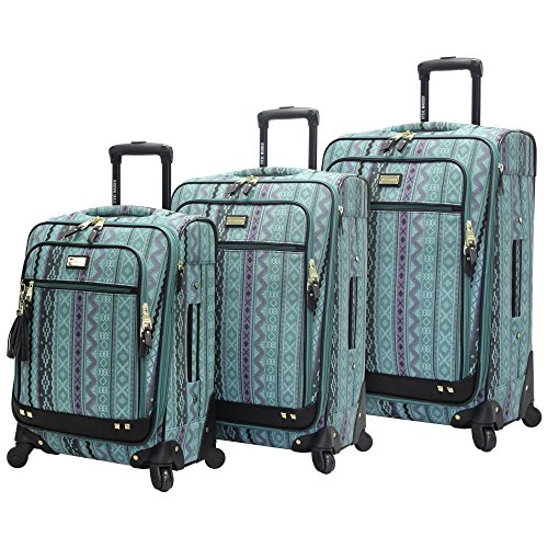Steve Madden Designer Luggage Collection - 3 Piece Softside Expandable Lightweight Spinner Suitcase Set - Travel Set includes 20 Inch Carry on, 24 Inch & 28-Inch Checked Suitcases (Print/Teal)