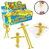 German Trendseller® - 12 x petits bonhommes jaune┃smile extensibles hommes┃pour etirer et modeler┃ jouets élastique┃petit cadeau l'anniversaire d'enfant