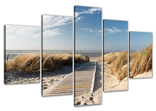 Visario Bild auf Leinwand der Deutschen Marke 200 x 100 cm fünfteilig Strand 6310 Bilder Kunstdrucke Wandbild