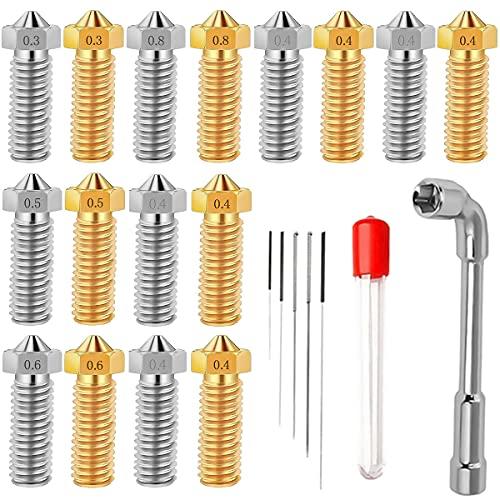 DURTAIL Boquilla para impresora 3D Volcano Nozzle, 8 Boquillas de Latón, 8 Boquillas de Acero Inoxidable (0,4x8+0,3/0,5/0,6/0,8x 2), 1 Llave de Boquilla, 5 Agujas de 0,2-0,8 para 1,75 Filamentos