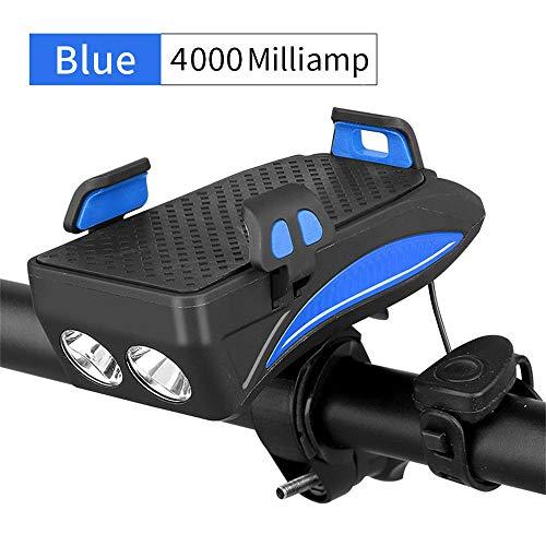 myf Luz Delantera De Bicicleta Recargable USB De 3 Modos con Soporte para Teléfono De Bicicleta y Banco De Energía y Campanas De Bicicleta (Azul)