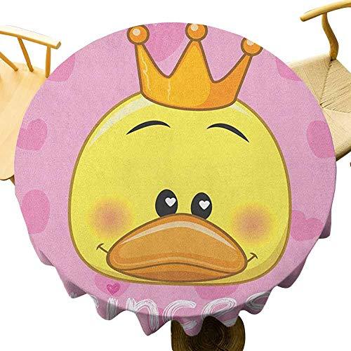 VICWOWONE - Mantel redondo de poliéster de 35 pulgadas con tiara y corazones en el fondo, para fiestas, color amarillo y rosa