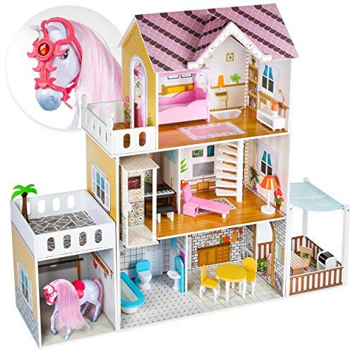 Kinderplay Puppenhaus, Puppenvilla, Puppenhaus Holz Groß, - Pferd, Barbiehaus Traumhaus, Puppenstube LED-Licht Zubehör, Großes Holzhäuschen mit Aufzug, Villa mit Stall und Pferd, GS0022