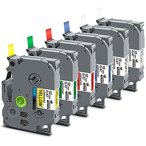 Fentec 6x Recharge de Ruban pour Étiqueteuse Compatible pour Brother TZe-231 TZe-131 TZe-431 TZe-531 TZe-631 TZe-731 pour Brother PT-1000 H100 H105 H110 E100 1080 1100 D200 P700 12mm x 8m