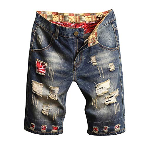 ZEFOTIM Shorts for Men 2019 Casual and Loose Broken Hole Stitching Drape Characteristic Foot Denim Shorts(Gray,38)