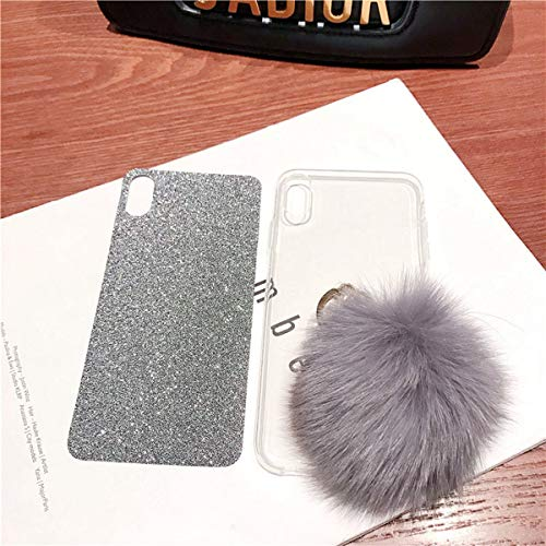 Misstars Flauschige Ball Hülle für Huawei P Smart Plus/Nova 3i, Ultra Dünn Transparent Weiche TPU Silikon + Glitzer Silber Papier Hybrid 2 in 1 Design Bling Schutzhülle mit Ring Ständer - 3