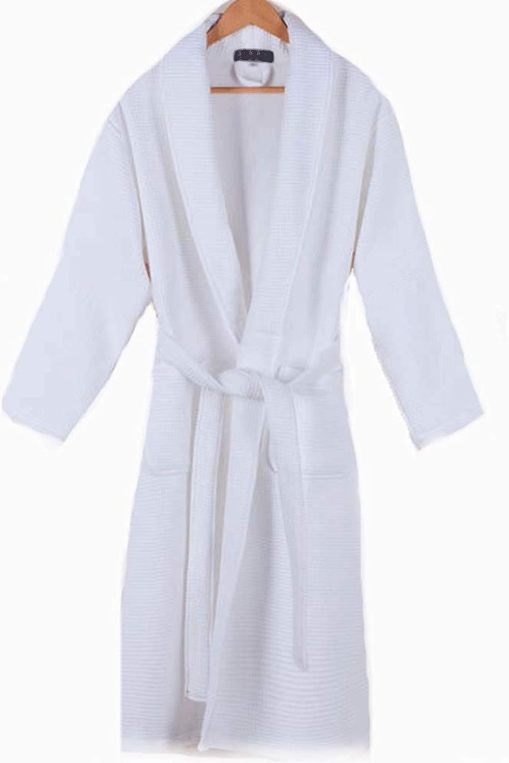 YONGYONG Nightgown Cotton Waffle Long Couple Pajamas Long Sleeves Autumn and Winter White bluee Men and Women Hotel Bathrobe YONGYONG (color   White M)