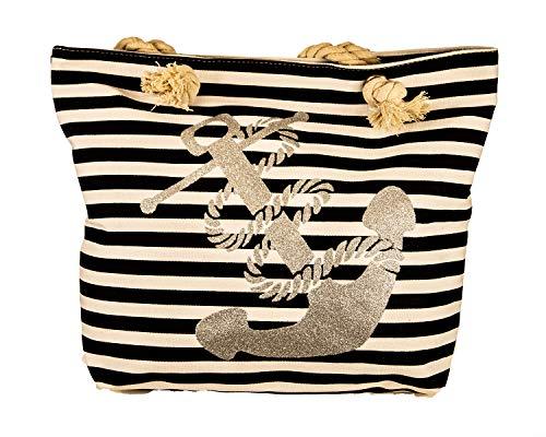 Jay-Fashionbox Damen Anker Glitzer Strandtasche Groß Canvas Sommertasche Shopper Tasche mit Anker Muster mit Motiv Henkel Badetasche Schultertasche für Strand Pool Schwimmbad Shopping Blau Schwarz