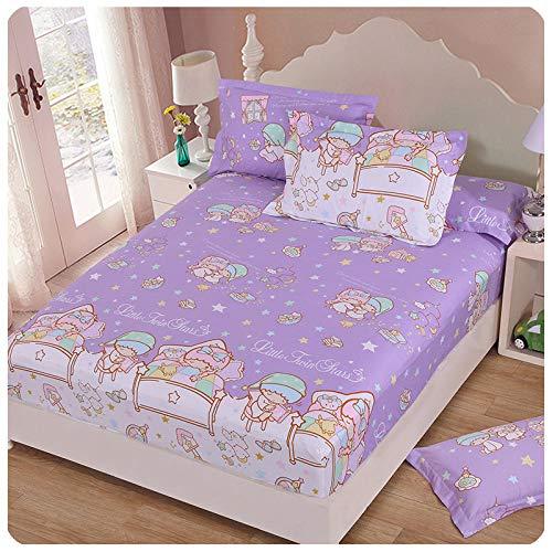 CYYyang Protector de colchón de Rizo algodón y Transpirable Hoja de Cama de Dibujos Animados Paquete Completo de una Pieza-3_120 * 200 + 30