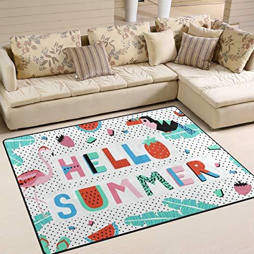 ALINLO Hello Summer Flamingo Toucan Erdbeer-Teppich, Anti-Rutsch-Teppichboden für drinnen und draußen, Tür für Badezimmer, Heimdekoration, 121,9 x 1,52 cm, Polyester, Mehrfarbig, 80 x 58 inch
