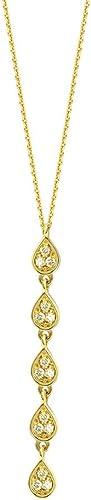 14  Gelb Gold Diamant 0,16 T 5 opfenform Lariat Halskette 46cm