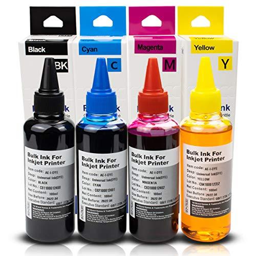 Xemax Universal Tinte Nachfüllung Kompatibel für Canon, HP, Epson, Brother, Lexmark Ricoh Nachfüllbare Tinte Kartusche and CISS System Schwarz/Cyan/Magenta/Gelb, 100ml Tinte/Flasche, 4 Stück