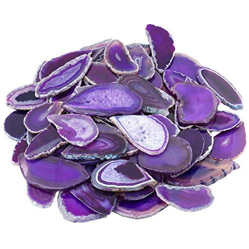 mookaitedecor 12 Stück Natürliche Geode Achat Scheiben, unregelmäßige poliert Achat Edelsteine Namen Karten für Hochzeit
