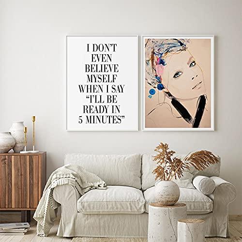 Gymqian Impresión en Lienzo Moda Chica Zapatos de tacón Alto Póster e Impresiones Mujer Retrato Pintura Arte de la Pared Imagen para decoración del hogar 45x60cmx2 Sin Marco