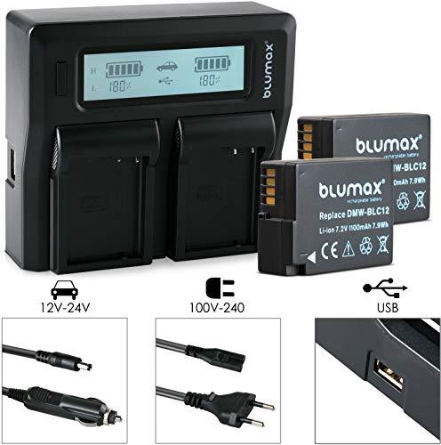 Blumax 2X Akku Panasonic ersetzt DMW BLC12 1100mAh Doppelladegerät Dual Charger für 2 Akkus gleichzeitig Laden kompatibel mit DMC GX8 G70 G81 G85 G7 G6 G5 FZ2000 FZ2500 FZ1000 FZ200 FZ300