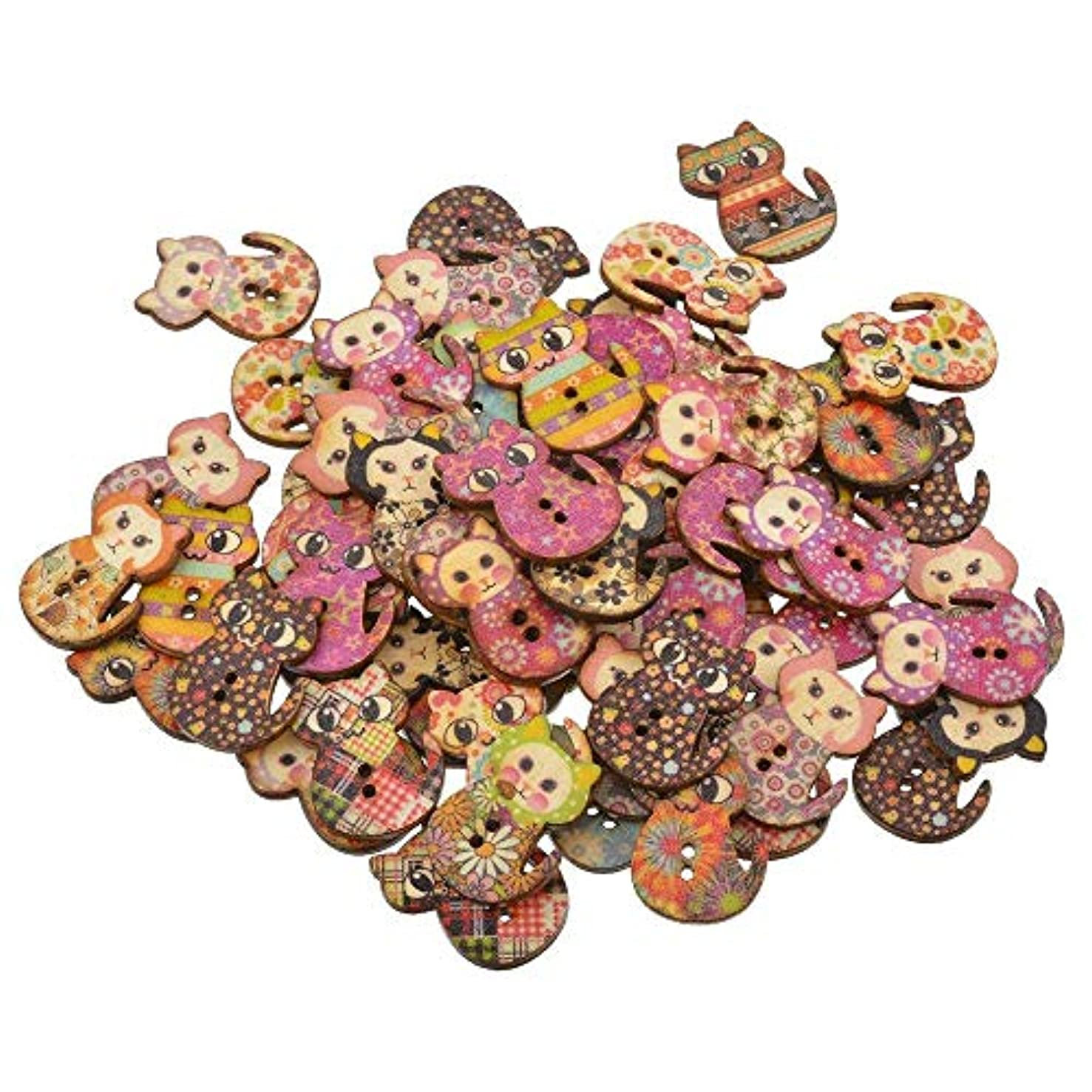 XGuangage 100pcs Mixed Random 2 Holes Cat Shape Wood Wooden Buttons for DIY Sewing Crafting