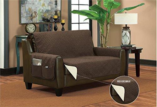 Bella Kline Reversible Sofa Furniture Protector, with 2 Storage Pockets - Purple/Lavender