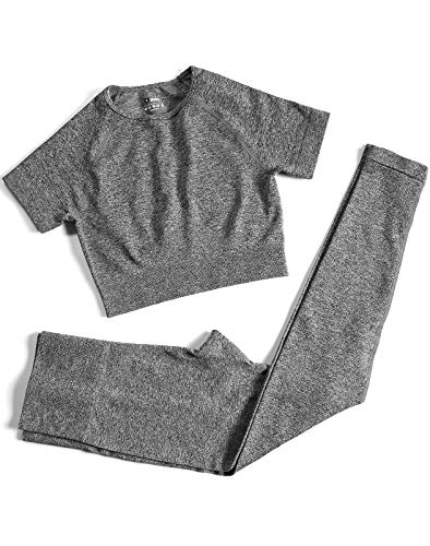Women's Two Piece Outfits Yoga Pants Set Seamless High Waist Leggings and Quick-Dry Yoga Crop Tops Athletic Sports Set (P005M-Grey)