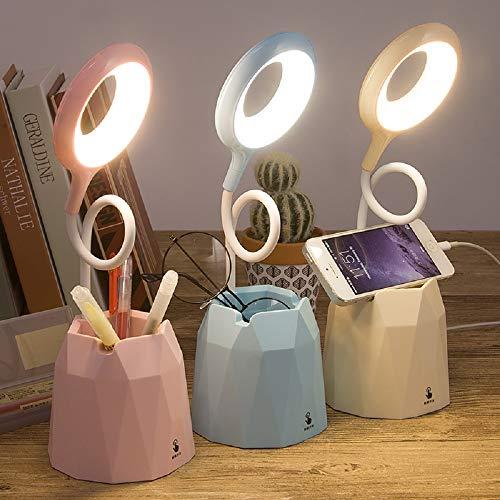 LED Augenschutz kleine Tischlampe Stifthalter berühren Nachttischlampe Leselampe für Schüler im Schlafzimmer USB aufladen Kinder mit Weihnachtsgeschenken (pink)