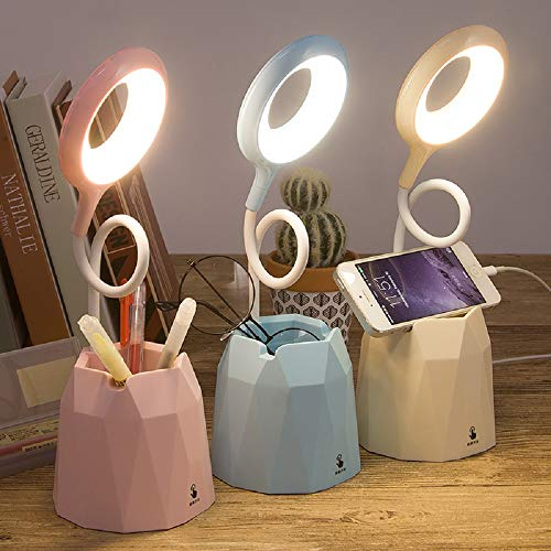 Protección ocular LED lámpara de escritorio pequeña portalápices lámpara de noche táctil adecuada para dormitorio de estudiantes lámpara de lectura carga USB (pink*)