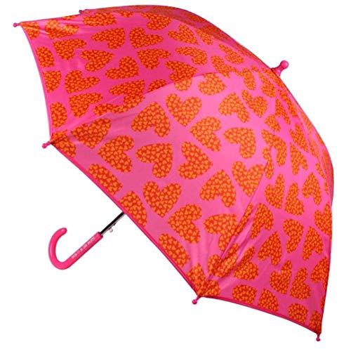 Paraguas infantil resistente al viento sistema de apertura automática color rosa con corazones Agatha Ruiz de la Prada