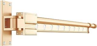 LXLTL Tendedero de Ropa Pared, Plegable Extensible Tendedero Don Oculto Carril de Toalla Estante para Secado de Ropa Tendedero,Oro