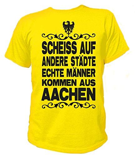 Artdiktat Herren T-Shirt Scheiß auf andere Städte - Echte Männer kommen aus Aachen Größe L, gelb