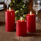 Lights4fun 3er Set TruGlow® rote Echtwachskerzen mit warmweißer LED Flamme und Timer...