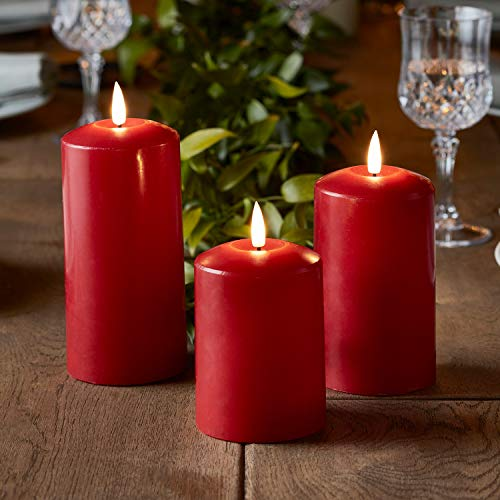 Lights4fun 3er Set TruGlow® rote Echtwachskerzen mit warmweißer LED Flamme und Timer batteriebetrieben