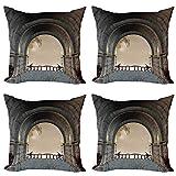 ABAKUHAUS gótico Set de 4 Fundas para Cojín, Balcón de la Edad Media, Estampado Digital en Ambos Lados y Cremallera, 45 cm x 45 cm, Gris