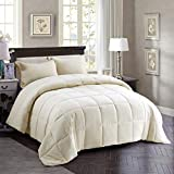 HIG 3pc Down Alternative Comforter Set - All Season Reversible Comforter with Sham - Quilted Duvet Insert with Corner Tabs -Box Stitched – Hypoallergenic, Soft, Fluffy(Twin/Twin XL, Black)