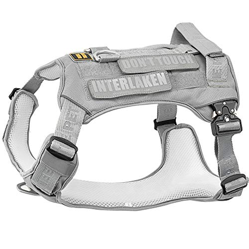 Dog Harness, No-Pull Pet Harness, Adjustable Eva Padded Dog Vest, Reflective No-Choke Pet Velcro Patch Vest with Easy Control Handle (L, Light Grey)