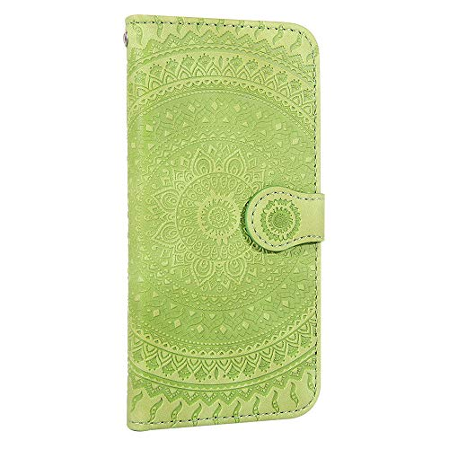 iPhone XR Hülle Handyhülle, Premium Leder Flip Schutzhülle[TPU-Schutz] [Standfunktion] [Kartenfächer] [Magnetverschluss] lederhülle klapphülle für Apple iPhone XR - TTHM020080 Grün